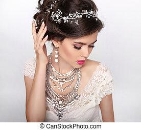 bello, moda, lusso, acconciatura, jewelry., makeup., bellezza, portrait., matrimonio, capelli, style., giovane, isolato, su, studio, fondo.