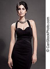 bello, moda, scuro, fondo., ritratto, woman.