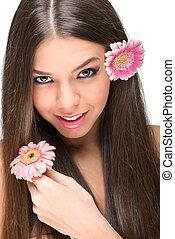 bello, modello, con, fiori