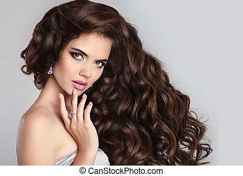 bello, modello, donna, brunetta, trucco