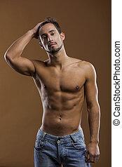 bello, modello, maschio, shirtless