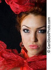 bello, modello, moda, rosso