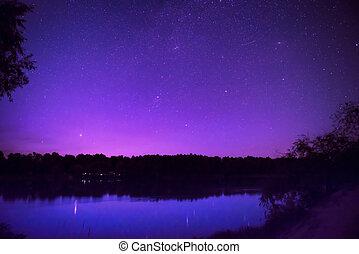 bello, molti, cielo, lago, stelle, notte