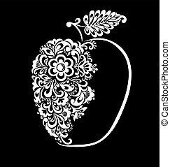 bello, monocromatico, nero bianco, mela, decorato, con, ramage, isolated.