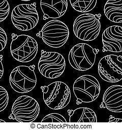 bello, monocromatico, nero bianco, modello, con, natale, palle