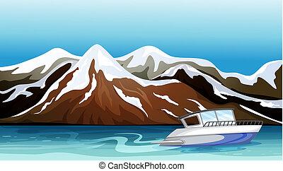 bello, montagna, barca fiume