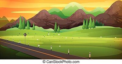bello, montagna, campagna, scena, strada