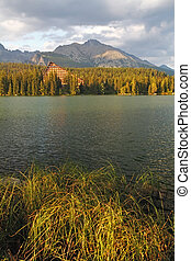 bello, montagna, natura,  pleso,  -, scena, lago, Slovacchia,  tatra,  strbske