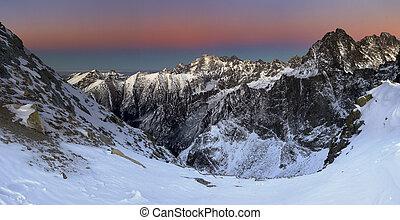 bello, montagna, roccioso, alba