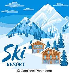 bello, montagne, chalet, inverno, nevoso, houses., ricorso, foresta, abete, alpino, sci, paesaggio, illustration.