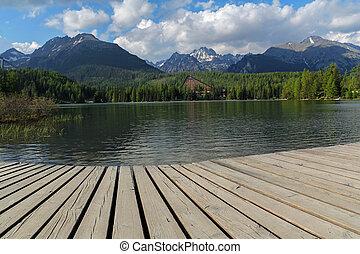 bello, montagne, lago, Slovacchia,  tatra,  -strbske