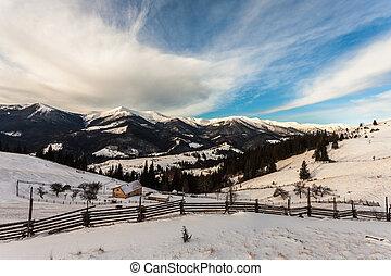 bello, montagne, Neve-Ricoperto