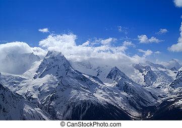 bello, montagne, nubi