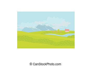 bello, montagne, paesaggio