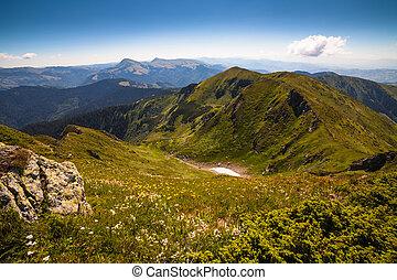 bello, montagne, paesaggio, in, carpathian