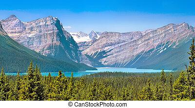 bello, montagne, roccioso, montagna, lago, paesaggio