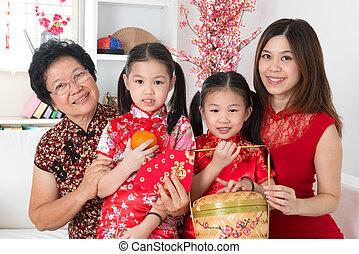bello, multi, asiatico, generazioni, famiglia