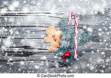 bello, natale, composizione, con, biscotto pan zenzero, decorazioni festa, e, neve, spazio copia, magia, fiaba, idea