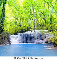 bello, natura, erawan, cascata, thailand., fondo