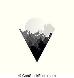 bello, natura, estate, paesaggio, con, silhouette, di, albero, e, sole, naturale, scena, icona, in, geometrico, triangolo, modellato, disegno, vettore, illustrazione, in, nero bianco, colori
