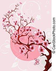 bello, natura, fiore, ciliegia, scena, fondo., primavera