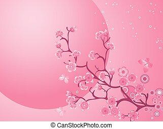 bello, natura, fiore, ciliegia, scene., fondo., primavera