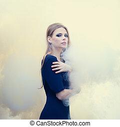 bello, natura, fumo, ragazza, bianco, sensuale