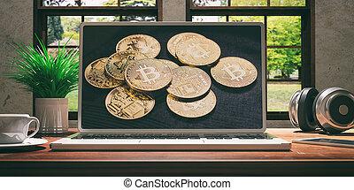 bello, natura, legno, schermo, bitcoin, illustrazione, sfocato, fondo., scrivania, home., laptop, 3d