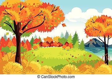 bello, natura, stagione, illustrazione, autunno, fondo, cadere, o, paesaggio