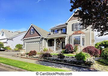 bello, naturale, classico, grigio, esterno, casa nuova, stone.