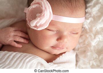 bello, neonato, ragazza, ritratto, bambino