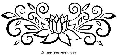 bello, nero bianco, astratto, flower., con, foglie, e, flourishes., isolato, bianco