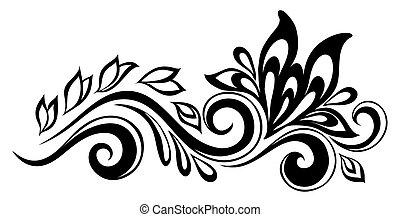 bello, nero-e-bianco, elemento, disegno, retro, floreale, ...