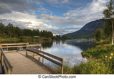 bello, norvegese, sera, a, riva lago, europe.
