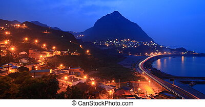 bello, notte, scene, con, luce, montagna, e, mare