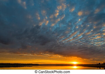 bello, nubi, pittoresco, sopra, lago, tramonto, durante