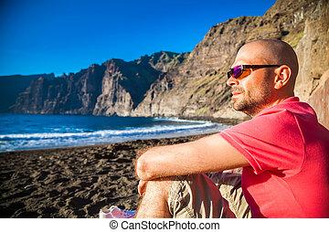 bello, occhiali da sole, guios, de, los, playa, godere, spiaggia, uomo