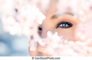 bello, occhio blu