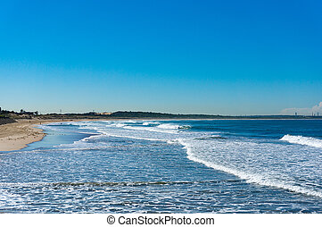 bello, oceano blu, spiaggia, cielo