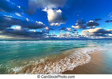 bello, oceano, e, cielo