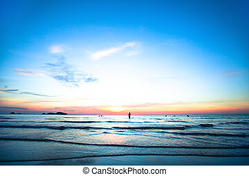 bello, oceano, sunset.