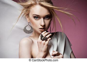 bello, orecchini, anello, donna