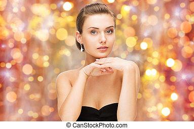 bello, orecchini, donna, anello diamante