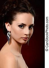bello, orecchini, donna, gioielleria