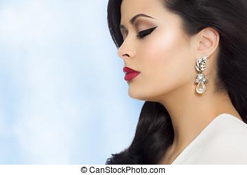 bello, orecchini, donna