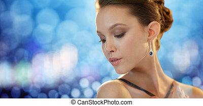 bello, orecchino, donna, giovane, asiatico