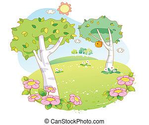 bello, paesaggio, albero, cartone animato
