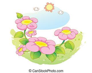 bello, paesaggio, fiori