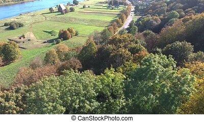 bello, paesaggio., fiume, vista aerea