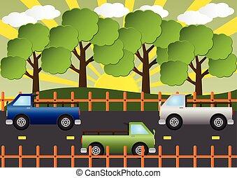 bello, paesaggio., illustration., automobile, vettore, camion, strada paese